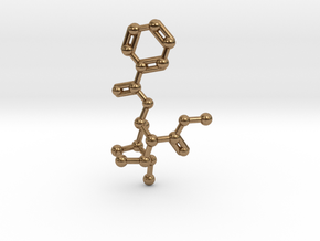 Cocaine Molecule Necklace Keychain in Natural Brass