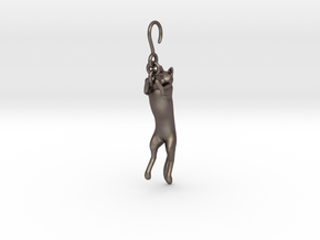 Cat Earing1 in Polished Bronzed Silver Steel