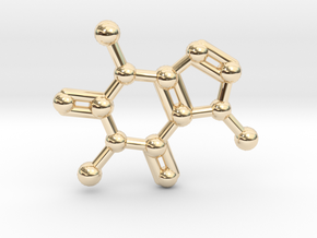 Caffeine Molecule Necklace / Keychain in 14K Yellow Gold