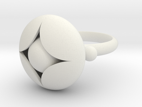 Ellipse Flower Ring #2 @ 20 mm with berries in White Natural Versatile Plastic