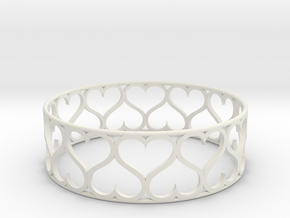 Heart Bracelet in White Natural Versatile Plastic