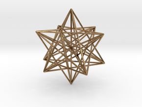 Stellated Dodecahedron with axes - 50mm in Natural Brass
