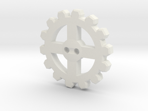 Cogwheel Button 01 in White Natural Versatile Plastic