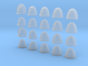 Lightning Circle - 20, 28mm Shoulder Pads in Smooth Fine Detail Plastic