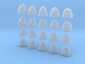 Lightning Skull - 20, 28mm Shoulder Pads in Smooth Fine Detail Plastic