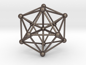 Great Dodecahedron in Polished Bronzed Silver Steel