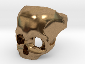 Skull Ring US 8 in Natural Brass