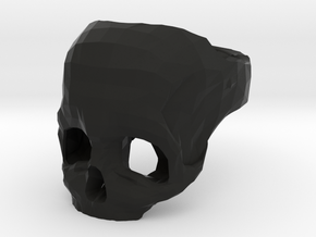 Skull Ring US 10 by Bits to Atoms in Black Natural Versatile Plastic