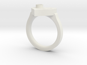 J Ring Initial in White Natural Versatile Plastic