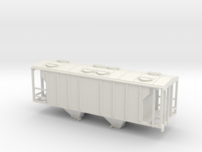 PS2 2 Bay Covered Hopper  Body TT Scale in White Natural Versatile Plastic
