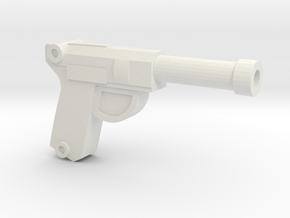 Luger Pistol in White Natural Versatile Plastic