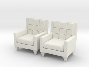 1:36 60's Armchair in White Natural Versatile Plastic