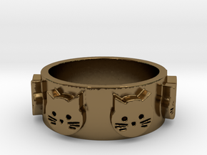 Ring of Seven Cats Ring Size 6.5 in Polished Bronze