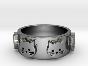 Ring of Seven Cats Ring Size 7 in Polished Silver