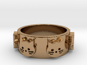 Ring of Seven Cats Ring Size 7 in Polished Brass