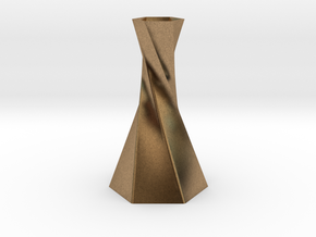 Twisted Hex Vase in Natural Brass
