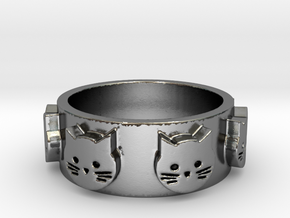 Ring of Seven Cats Ring Size 6.5 in Polished Silver