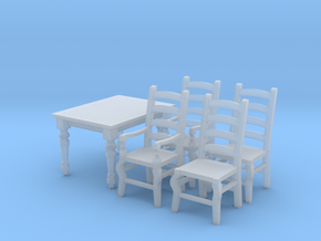 1:48 Farmhouse Table & Chairs in Smooth Fine Detail Plastic