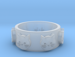 Ring of Seven Cats Ring Size 7 in Smooth Fine Detail Plastic
