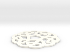 Celtic Knotwork Round Ornament in White Processed Versatile Plastic