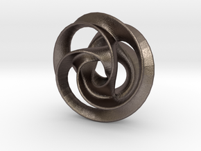 Trefoil Pendant 38mm in Polished Bronzed Silver Steel