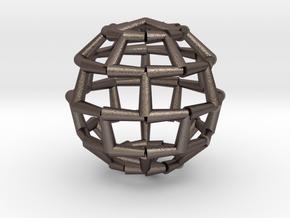 Brick Sphere 2 in Polished Bronzed Silver Steel
