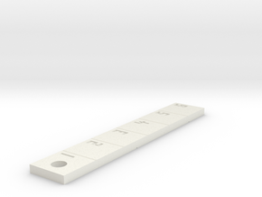 Ruler Mini (Keyring) in White Natural Versatile Plastic