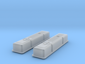 1/12 SBC Half Finned Valve Covers in Smooth Fine Detail Plastic