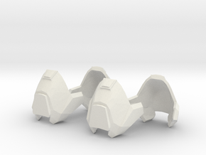 1/6 scale knee armor 2 pairs revised scale in White Strong & Flexible