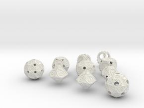 GearpunkDiceFullSet in White Natural Versatile Plastic