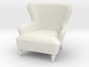 1:24 Moderne Wingback Barrel Chair in White Natural Versatile Plastic
