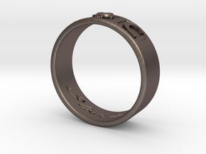 I And C ring in Polished Bronzed Silver Steel