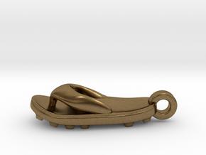 Soccer / football flipflop pendant in Natural Bronze