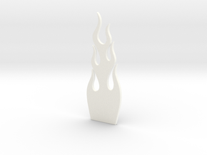 Guitar Truss Rod Cover Flames (narrow) in White Processed Versatile Plastic