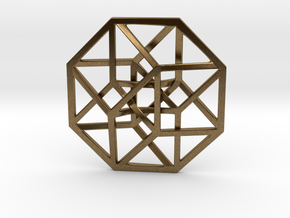 4D Hypercube (Tesseract) small in Raw Bronze