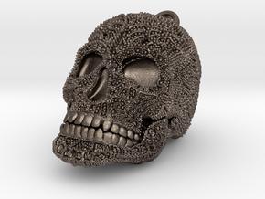 Tibetan Sugar Skull - MEDIUM in Polished Bronzed Silver Steel