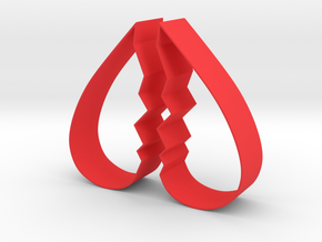 Cookie Cutter - Broken Heart Design in Red Processed Versatile Plastic