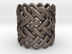 Full knuckle woven ring - Size 9 1/2 in Polished Bronzed Silver Steel