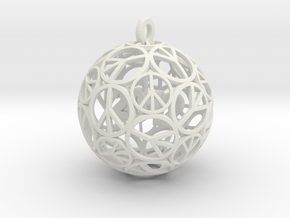 Peace Christmas Ornament  in White Natural Versatile Plastic