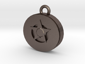 star gem pendant in Polished Bronzed Silver Steel