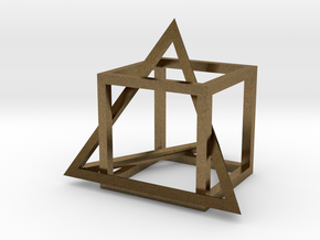 Tetrahedron in captivity of cube in Natural Bronze