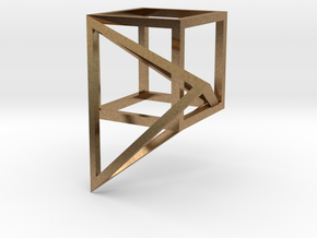 Tetrahedron built into the diagonal of a cube in Natural Brass