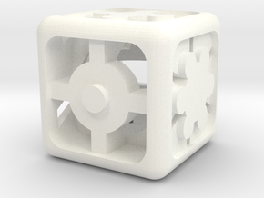 Geometric Dice in White Processed Versatile Plastic