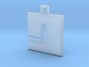 ABC Pendant - 9 Type - Solid - 24x24x3 mm in Smooth Fine Detail Plastic