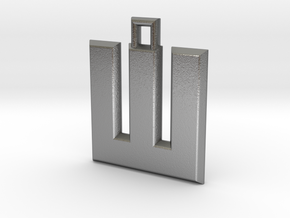 ABC Pendant - W Type - Solid - 24x24x3 mm in Natural Silver