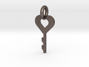 key to my heart in Polished Bronzed Silver Steel