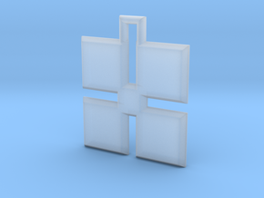 ABC Pendant - X Type - Solid - 24x24x3 mm in Smooth Fine Detail Plastic