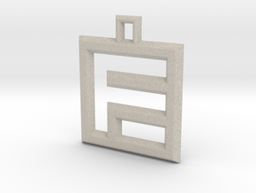 ABC Pendant - F Type - Wire - 24x24x3 mm in Natural Sandstone