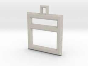 ABC Pendant - I Type - Wire - 24x24x3 mm in Natural Sandstone