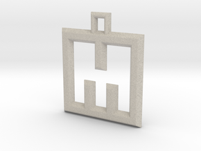 ABC Pendant - M Type - Wire - 24x24x3 mm in Natural Sandstone